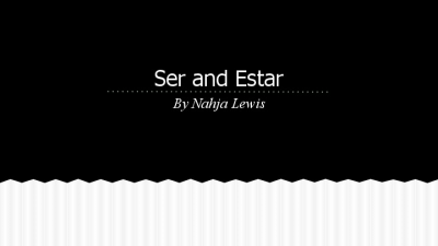 Ser vs Estar Powerpoint